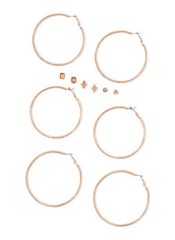6 Piece Rhinestone Stud and Hoop Earrings Set - 3122057693928
