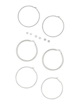 6 Piece Textured Hoop and Stud Earrings Set - 3122057694040