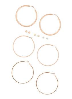 6 Piece Textured Hoop and Stud Earrings Set - 3122057694040