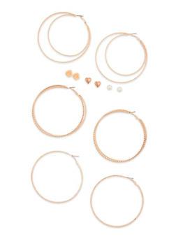 6 Piece Rose Heart Stud and Hoop Earrings Set - 3122057694041
