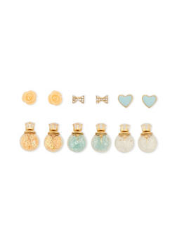Set of 6 Double Sided and Post Back Stud Earrings - 3122057694403