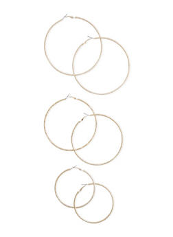 Set of 3 Assorted Texture Hoop Earrings - 3122057694509