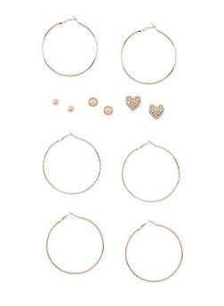 Set of 6 Multi Textured Stud and Hoop Earrings - 3122057694544