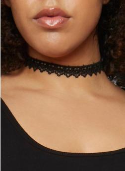 Lace and Rhinestone Charm Choker Set - 3122057697074
