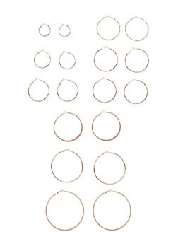 Set of 9 Assorted Hoop Earrings - 3122057697721