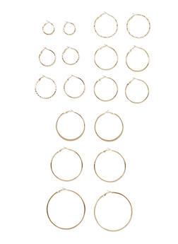 Set of 9 Assorted Hoop Earrings - 3122057697721