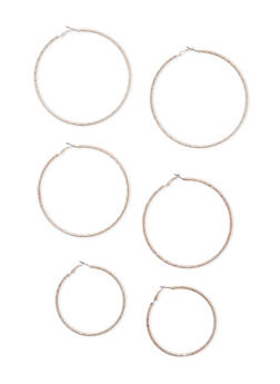 Set of 3 Large Etched Hoop Earrings - 3122057699054