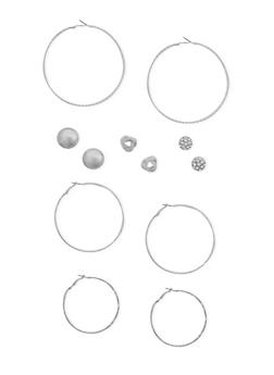 Set of 6 Hoop and Multi Textured Stud Earrings - 3122057699193