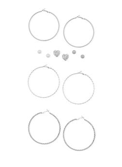 Set of 6 Assorted Stud and Hoop Earrings - 3122062812291