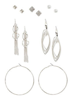 Set of 6 Assorted Stud and French Wire Earrings - 3122062816048