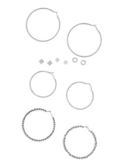 6 Piece Textured Hoop and Stud Earrings Set - 3122062816164