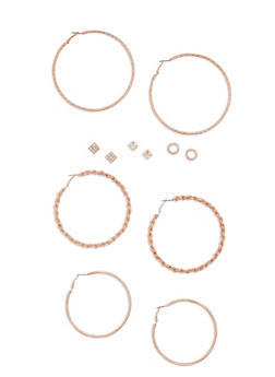 6 Piece Textured Hoop and Stud Earrings Set - 3122062816164