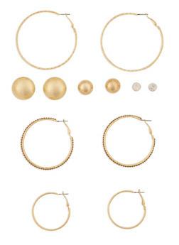 Set of 6 Multi Size Stud and Hoop Earrings - 3122062816171