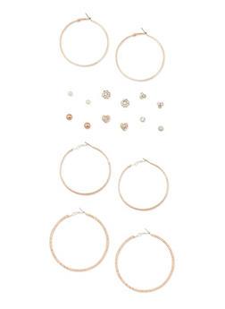 Set of 9 Etched Hoop and Assorted Rhinestone Stud Earrings - 3122062817141