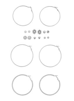 Set of 9 Assorted Stud and Hoop Earrings Set - 3122062819588