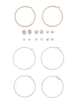 Set of 9 Assorted Stud and Hoop Earrings Set - 3122062819588