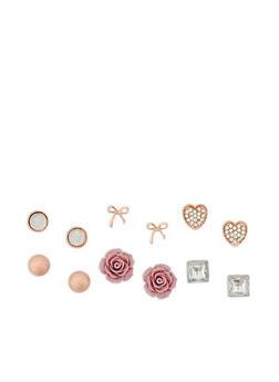 Set of 6 Assorted Stud Earrings - 3122062920512