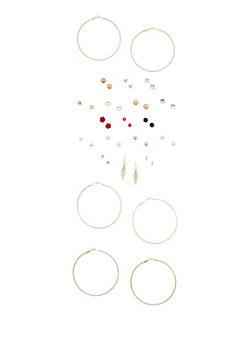 Set of 20 Large Hoop and Stud Earrings - 3122062920612