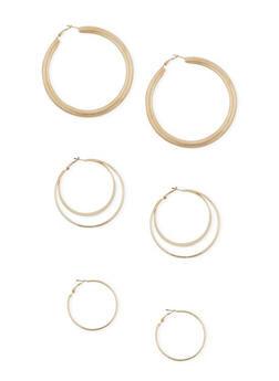 Assorted Trio Hoop Earrings - 3122062920686