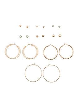 Set of 9 Metallic Hoop and Rhinestone Stud Earrings - 3122062920826