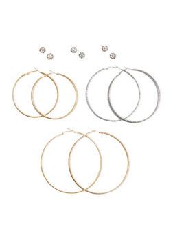 Set of Six Glitter Hoops and Crystal Studs - 3122062921258