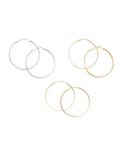 Set of 3 Hoops with Glitter and Leopard Print Accents - 3122062921259
