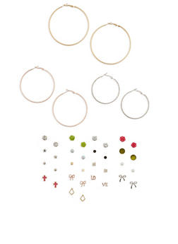 Set of 20 Multi Color Hoop and Stud Earrings - 3122062921307