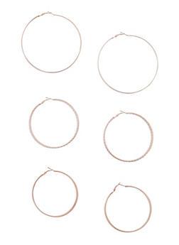 Glitter Hoop Earrings Trio - 3122062921537