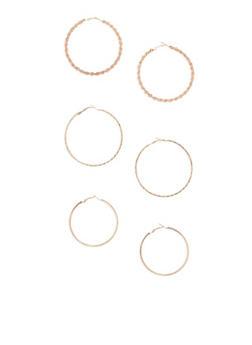 3 Piece Multi Textured Hoop Earrings Set - 3122062921768