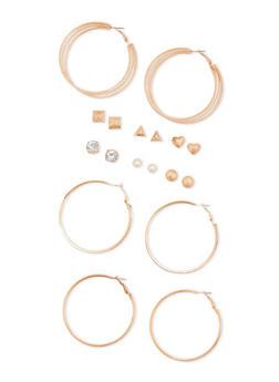 Set of 9 Hoop and Stud Earrings - 3122062922067