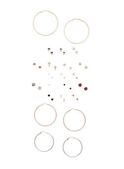 Set of 20 Assorted Stud and Hoop Earrings - 3122062923379