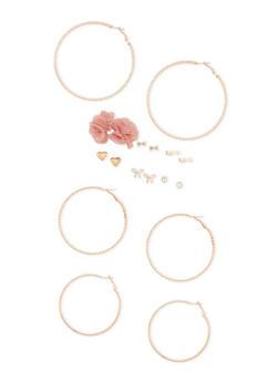 Set of 9 Textured Hoop and Stud Earrings - 3122062923705