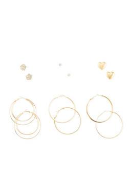 Set of 6 Stud and Layered Glitter Hoop Earrings - 3122062924252
