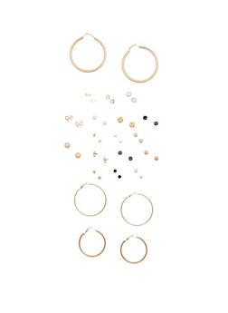 Set of 20 Assorted Hoop and Stud Earrings - 3122062924428