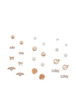 Set of 12 Assorted Stud Earrings - 3122062924639