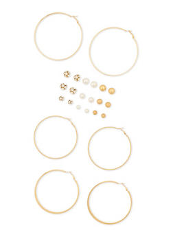 12 Assorted Stud and Hoop Earrings Set - 3122062925929