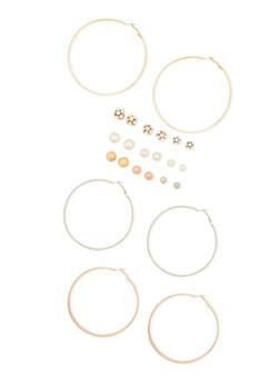 12 Assorted Stud and Hoop Earrings Set - 3122062925929