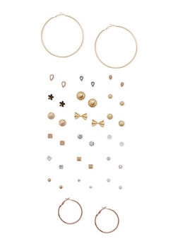 Set of 20 Assorted Stud and Hoop Earrings - 3122062926031