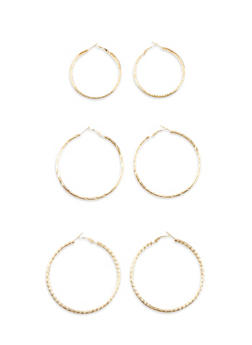 Set of 3 Assorted Size Twist and Glitter Hoop Earrings - 3122062927072