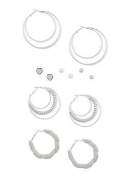 Set of 6 Multi Textured Stud and Hoop Earrings - 3122062927467