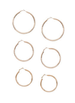Textured Tube Hoop Earring Trio - 3122062927516