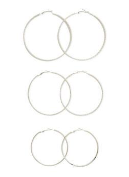 Set of 3 Textured Hoop Earrings - 3122062928382