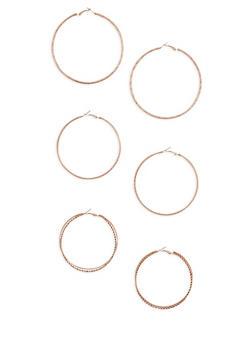 Set of 3 Large Textured Hoop Earrings - 3122062929497