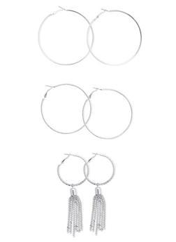 Set of 3 Assorted Hoop Earrings - 3122062929529