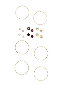 Set of 9 Etched Hoop and Assorted Stud Earrings - 3122062929915