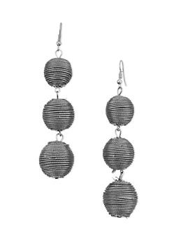 Metallic Linear Ball Drop Earrings - 3122067253302
