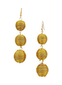 Metallic Linear Ball Drop Earrings - 3122067253302
