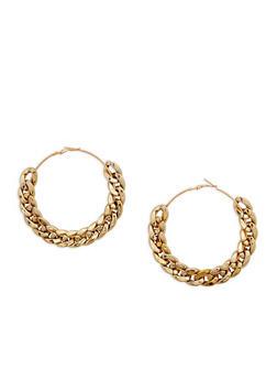 Curb Chain Hoop Earrings - 3122067256576