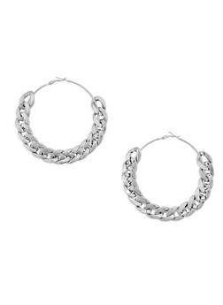 Metallic Chain Hoop Earrings - 3122067257615