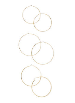 Set of 3 Assorted Etched Hoop Earrings - 3122069754197
